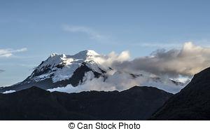 Stock Image of snow capped Antisana Volcano, Ecuador.