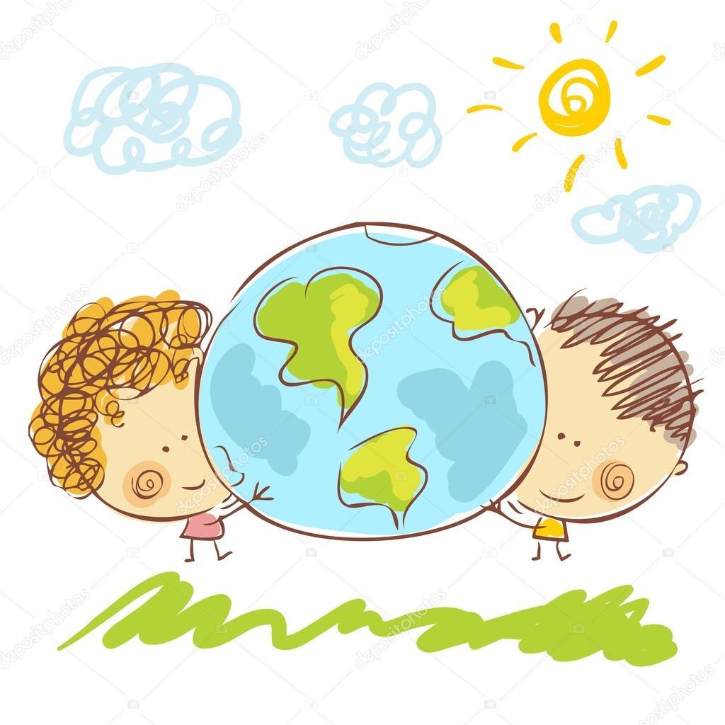 Friends and Earth — Stock Vector © Antisana #42959105.