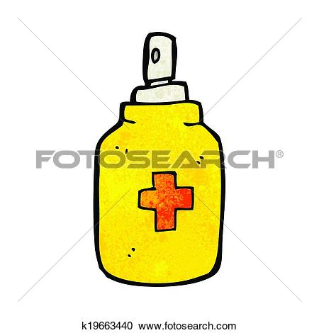Clipart of cartoon antiseptic spray k19704792.
