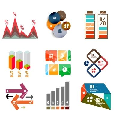 Modern infographic templates and elements set vector.