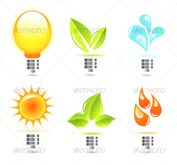 Nature in electricity. Icons by antishock.