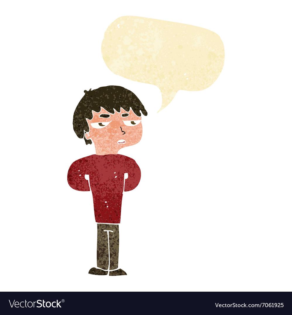 Cartoon antisocial boy with speech bubble.