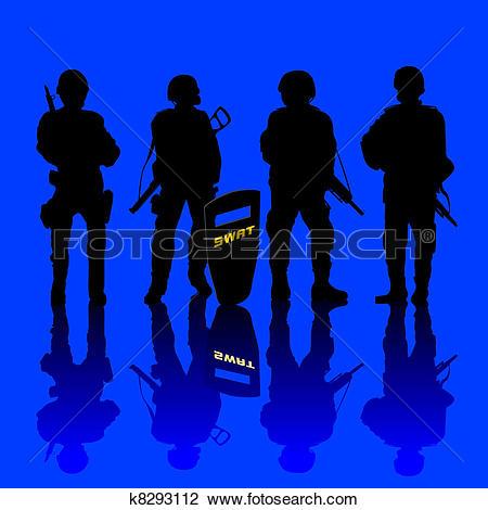 Clip Art of Anti terror police force k8293112.