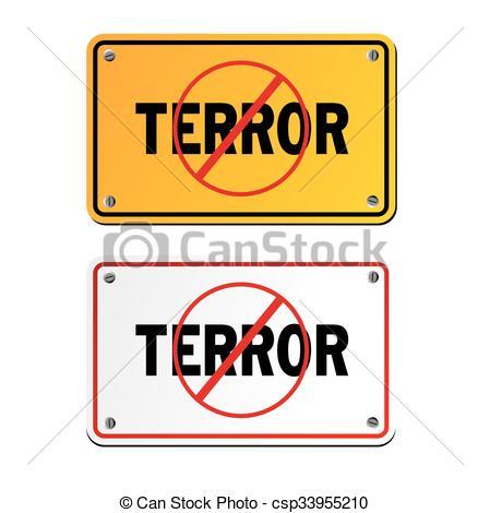 Vector Clip Art of anti terror signs.