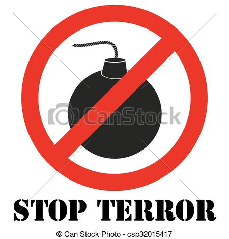 Vector Clip Art of Sign with gun and symbol Stop terrorism.