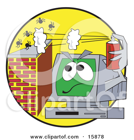 Clipart of a 3d Antivirus Shield Deflecting Viruses, Germs and.