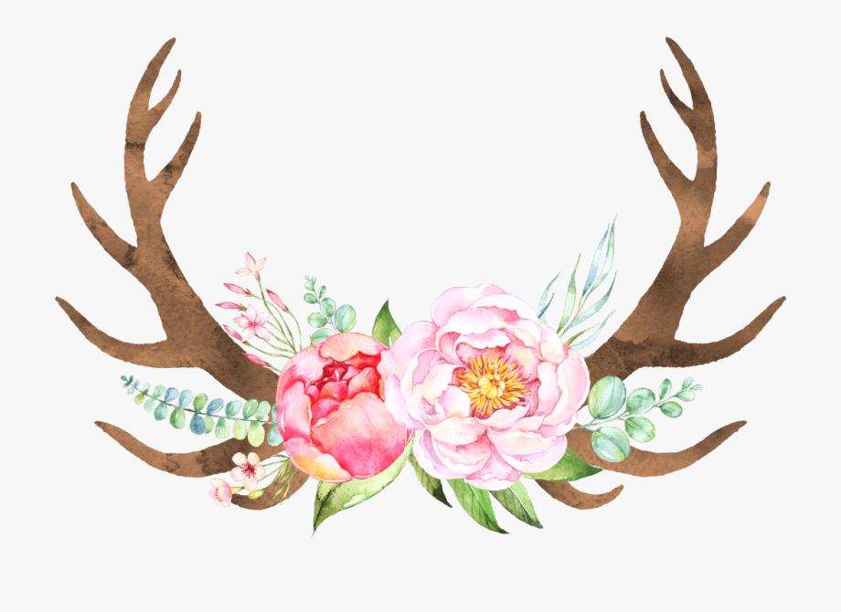 boho #bohemian #flower #flowers #antlers #freetoedit.