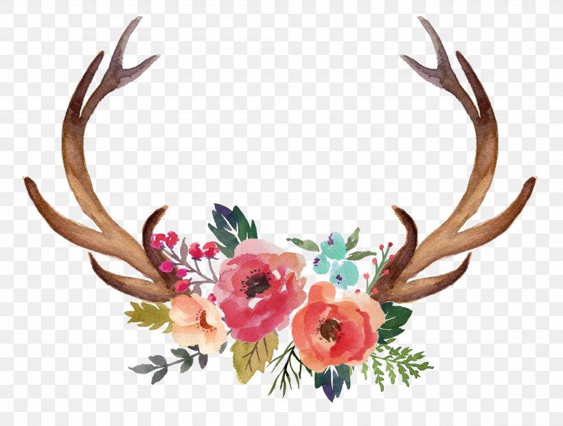 Deer Antler Moose Flower Clip Art, PNG, 8993x6807px, Deer.