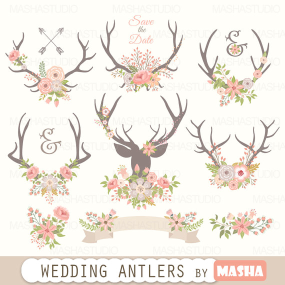 Antlers clipart: WEDDING ANTLERS CLIPART with by MashaStudio.
