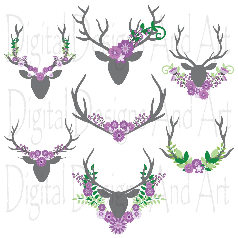 Floral antlers Purple flower antler by DigitalDesignsAndArt.