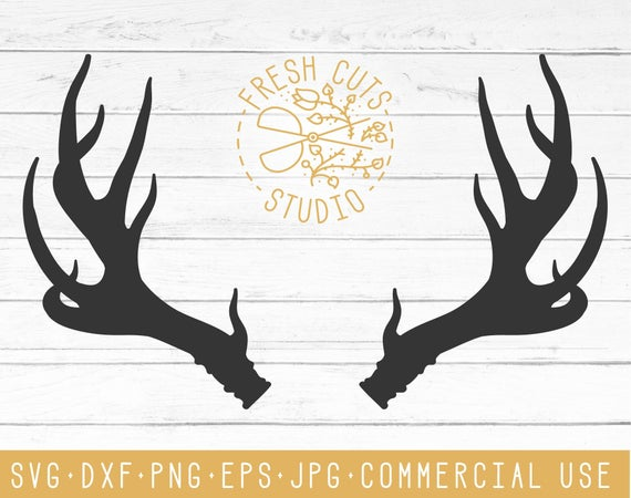 Antler SVG Clipart Silhouette Design, Vector Antler Dxf, Eps, PNG, Jpg,  Deer Antler Graphic Clip Art, Antler Cut Cutting Files, Cricut Decal.