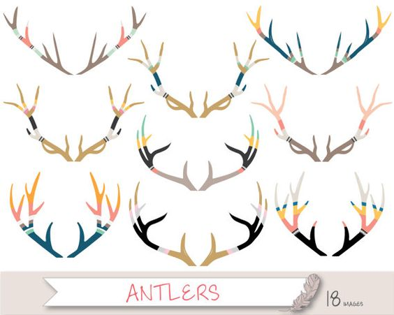 Antler Clipart, Deer Clipart, Stag Clipart Clip Art, Tribal.