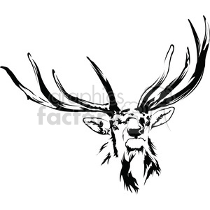 black and white Elk antlers clipart. Royalty.