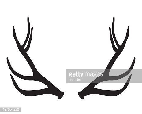 black silhouette of antlers Clipart Image.