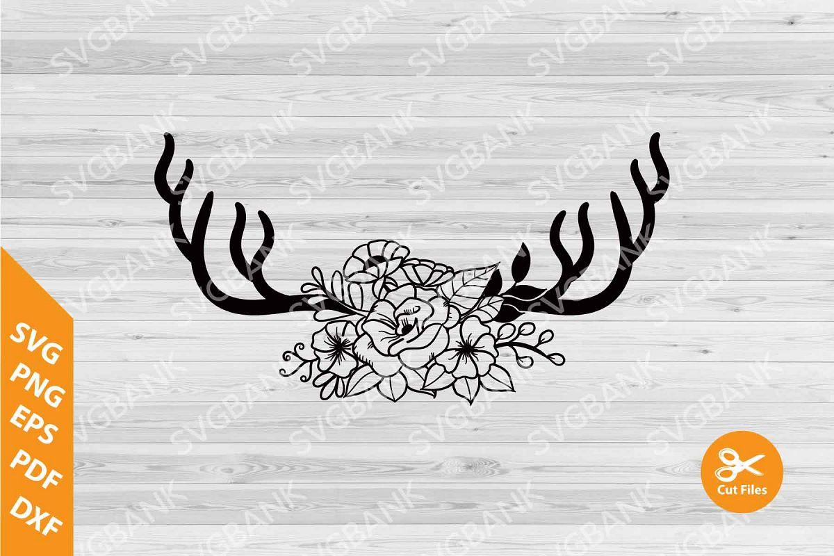 Deer Antlers Floral SVG cut file, floral antler clipart.
