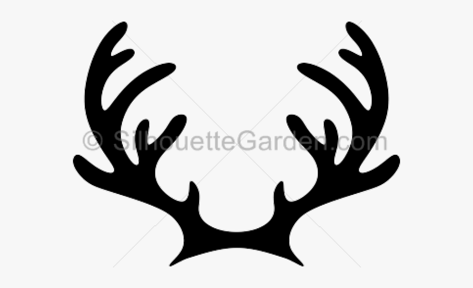 Reindeer Antler And Ears Silhouette, Cliparts & Cartoons.