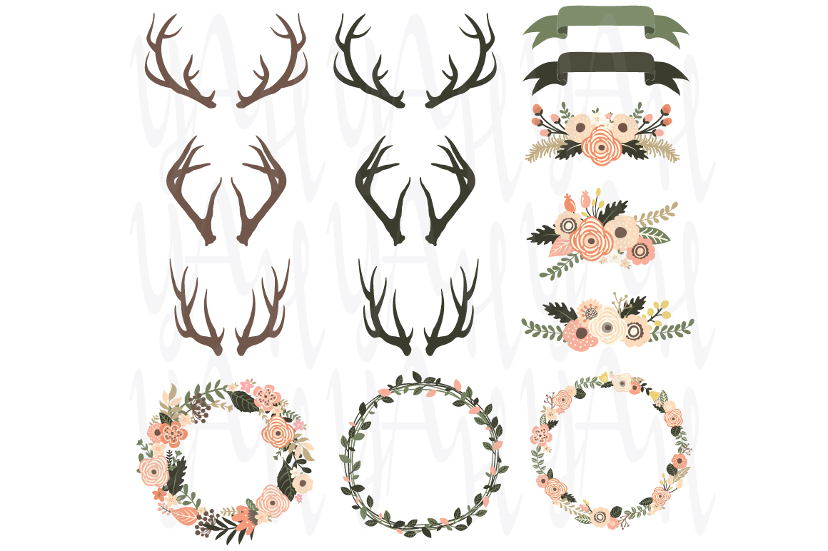 Antler clipart wreath, Antler wreath Transparent FREE for.