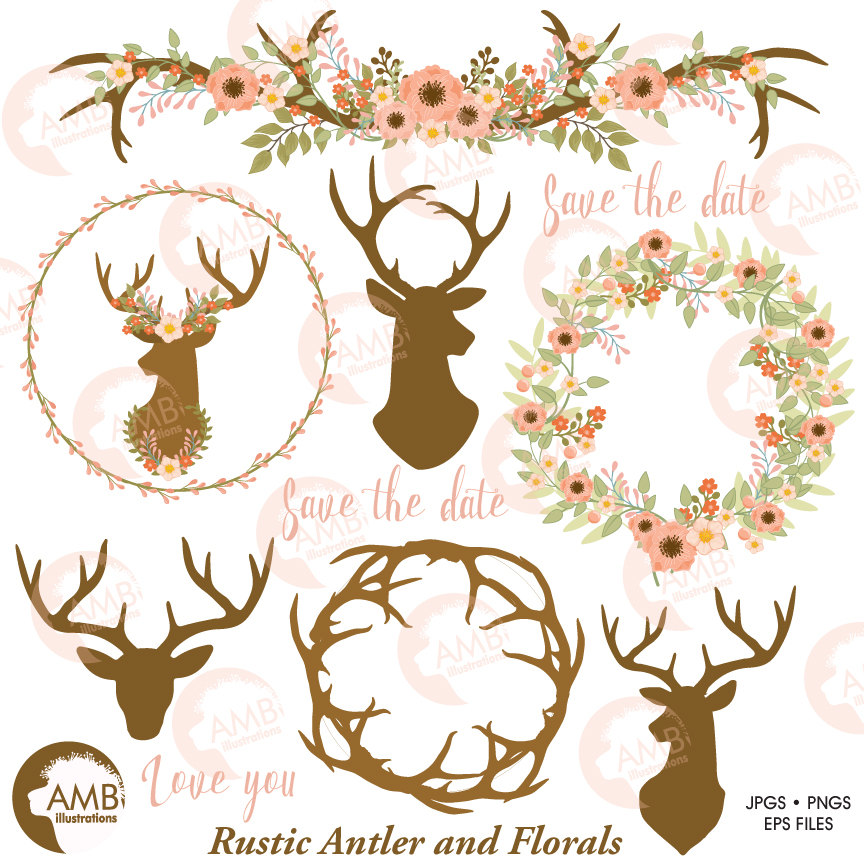 Rustic Wedding clipart, Floral Antlers, Antler and Floral Wedding Wreath,  Floral Deer clipart, Antler clipart, AMB.