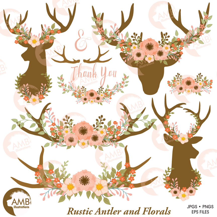 Wedding clip art, Floral Antlers, Antler and Floral Wreath, Floral Deer  clipart, Antler clipart, Rustic Wedding clipart, AMB.
