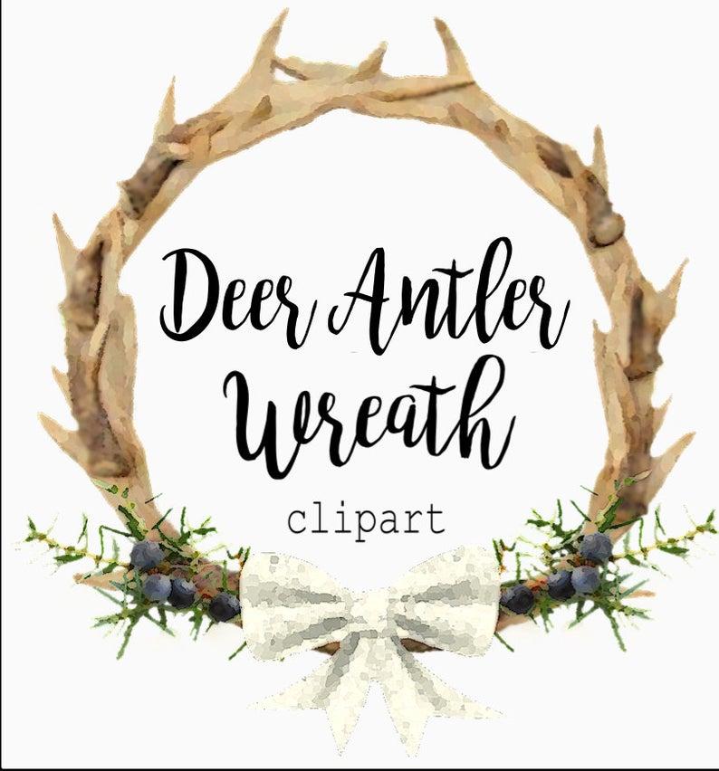 Deer Antler Wreath, Clipart, png format. Digital download..