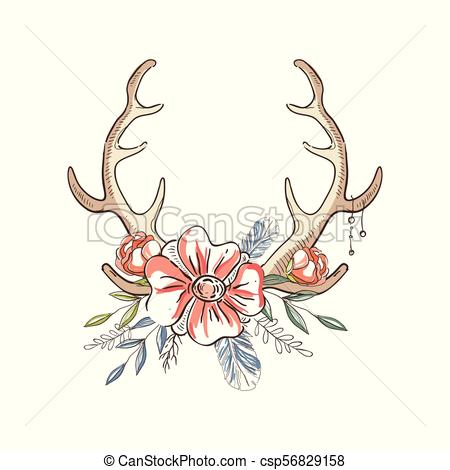 Antlers with a wreath of flowers, hand drawn floral composition with deer  horns vector Illustration on a white background.