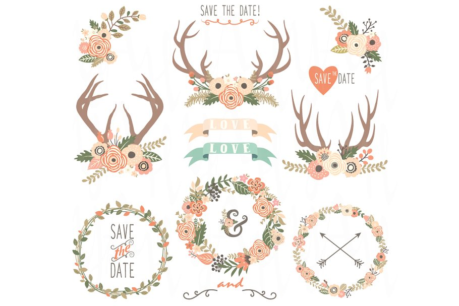 Floral Wreath and Floral Antlers.