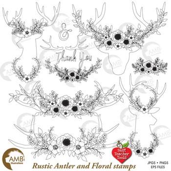 Deer Clipart, Antlers Digital Stamps, Antler Wreaths, AMB.