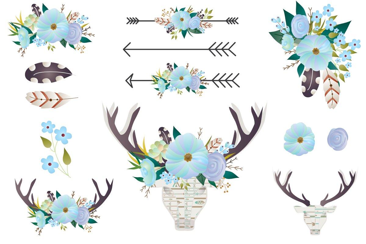 Boho Floral clip art.