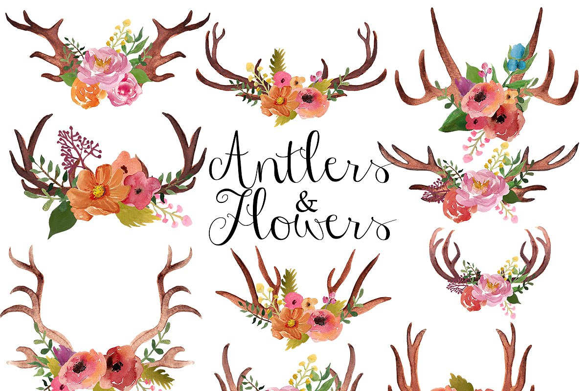 Antlers and flowers clip art ~ Illustrations ~ Creative Market.