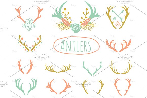 Antlers Clipart in EPS and PNG ~ Objects on Creative Market.