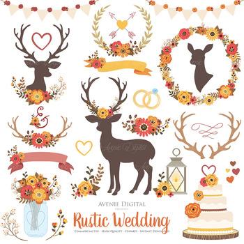 Fall Rustic Wedding Clipart.