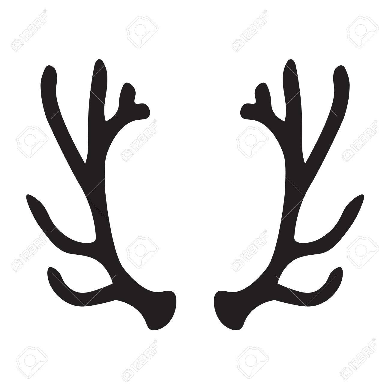 Black silhouette of deer antlers.