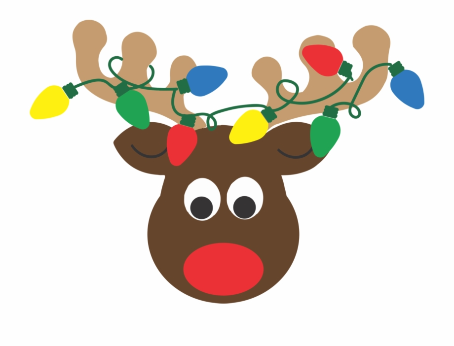 Reindeer Antlers With Christmas Lights Clipart.