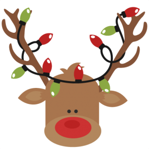 Reindeer With Christmas Lights Clipart.