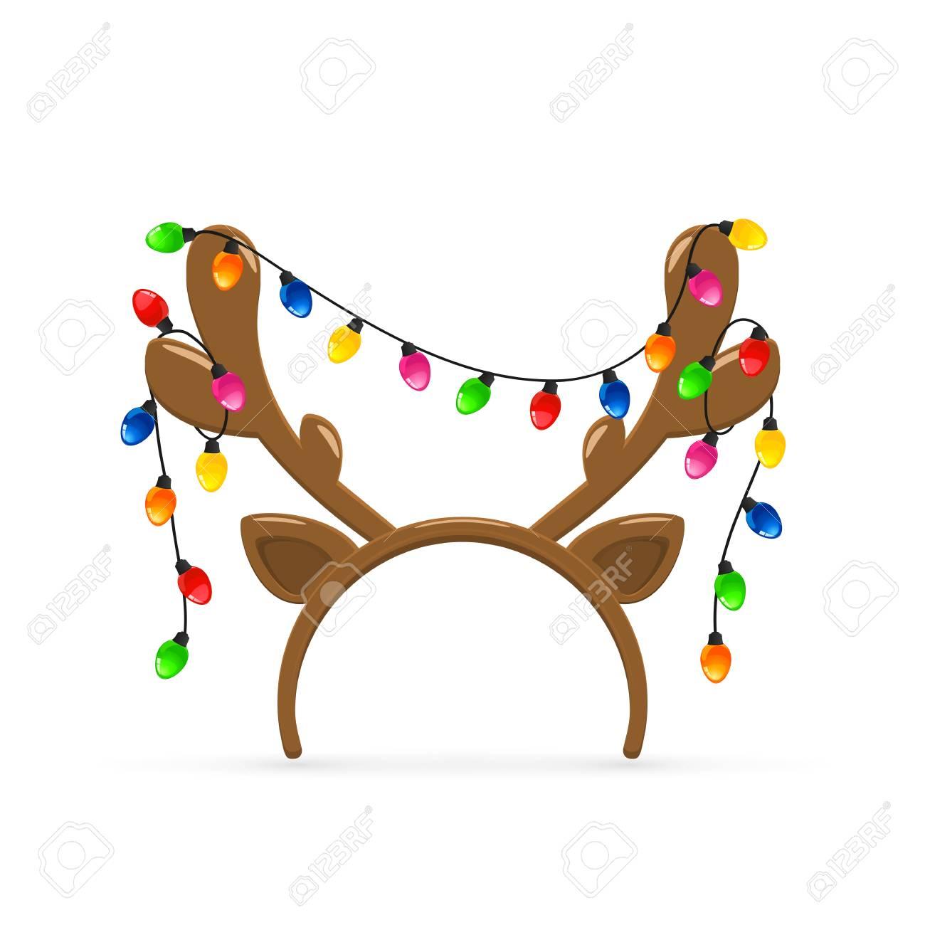 Christmas mask with brown reindeer antlers and Christmas lights...