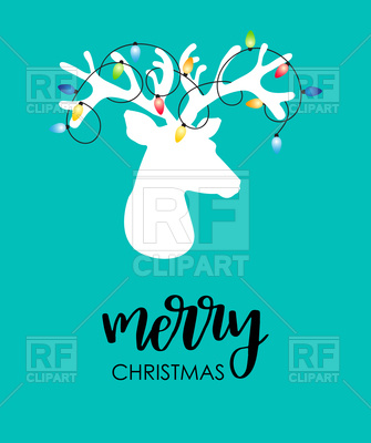 Christmas background with reindeer and christmas lights tangled on his  antlers Vector Image.