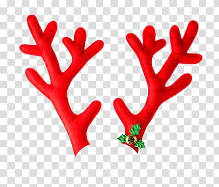 CHRISTMAS, red reindeer antlers illustration transparent background.