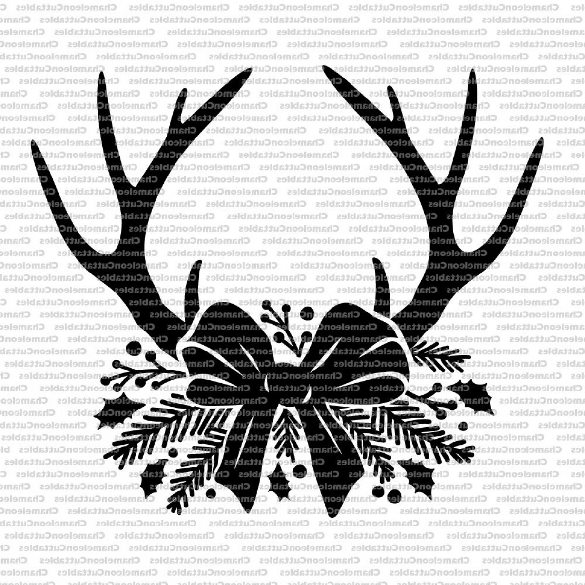 Christmas Clip Art Antlers Vector.