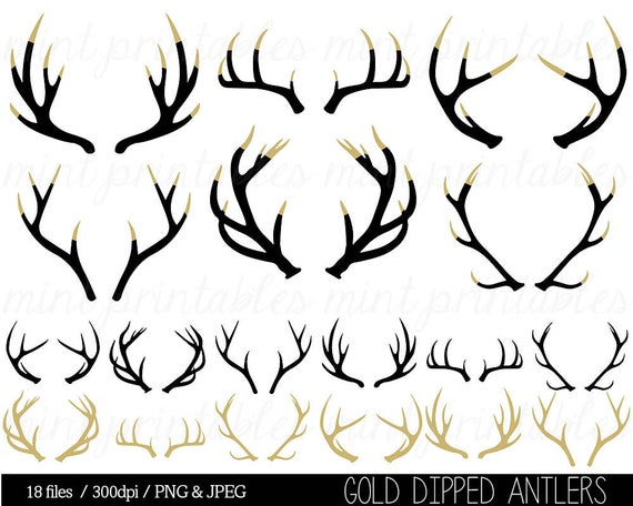 Antler Clipart, Antler silhouette clip art, stag, reindeer antler  silhouettes, black gold dipped.