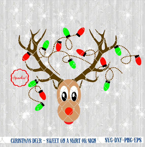 Reindeer with Christmas Lights in Antler SVG File, Cut Files Vector.