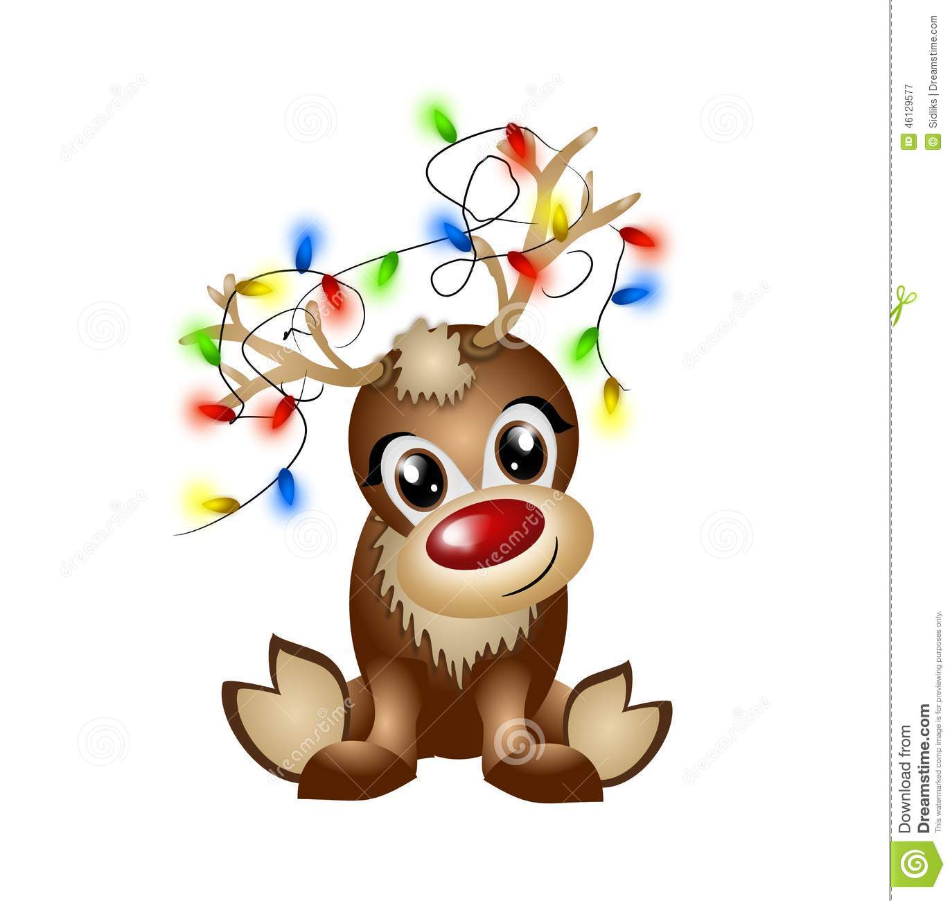 Reindeer with light chain stock illustration. Illustration of brown.