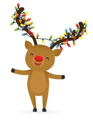 Reindeer with Christmas lights wrapped around its antlers.