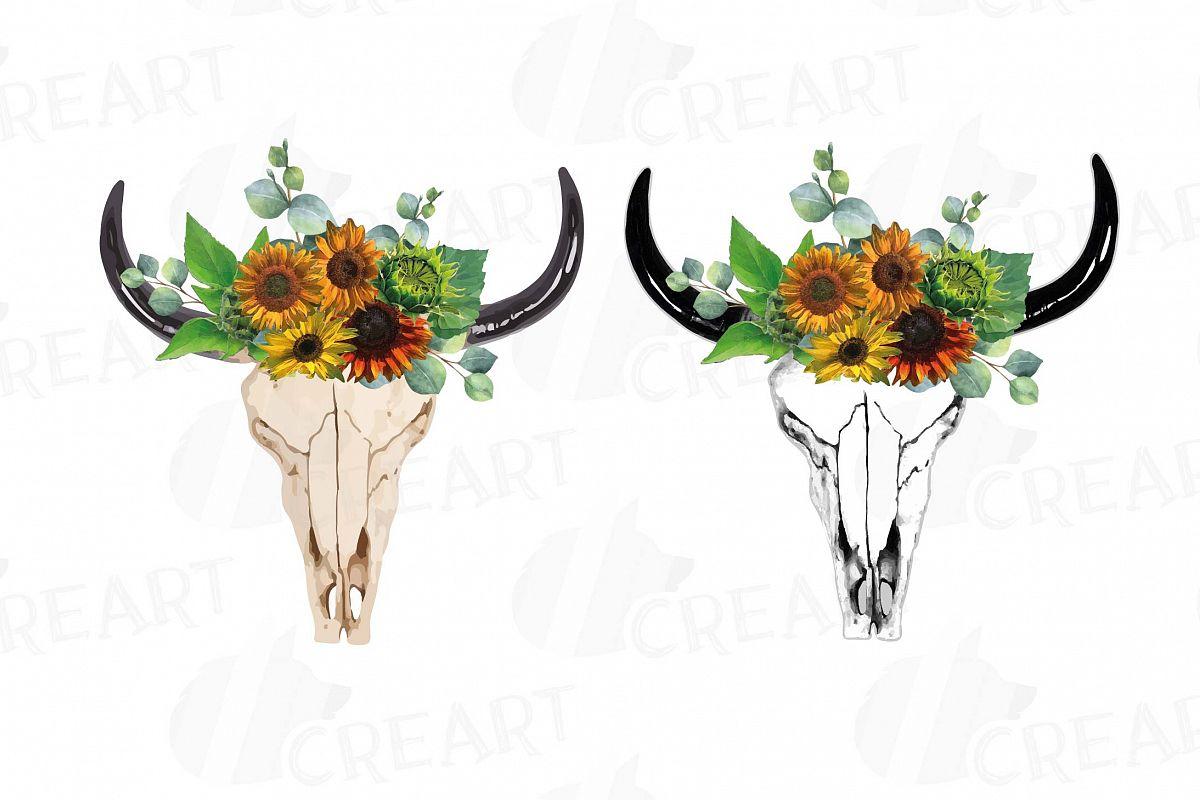 Bull Skull with sunflowers clipart, Tribal floral bull skull.