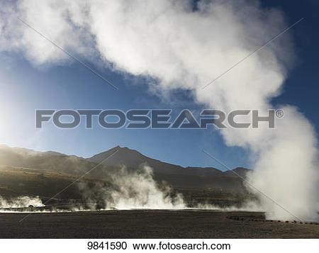 Stock Photography of El Tatio Geysers; Calama, Antofagasta Region.