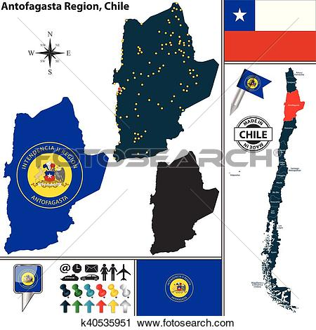 Clipart of Map of Antofagasta, Chile k40535951.