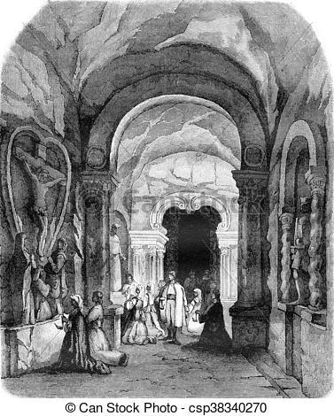 Stock Illustrations of La Chapelle Saint Antoine, in salt mines in.