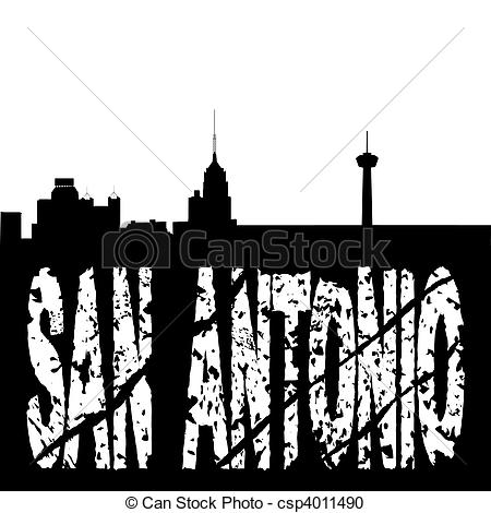Stock Illustration of San Antonio skyline grunge text.