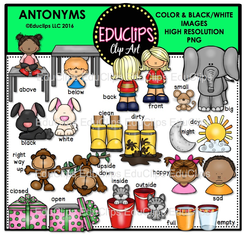 Antonyms Clip Art Bundle (Color and B&W).
