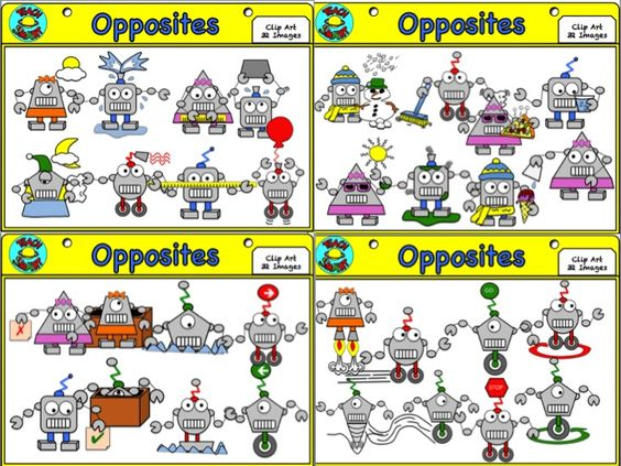 Robot antonyms Clip Art.