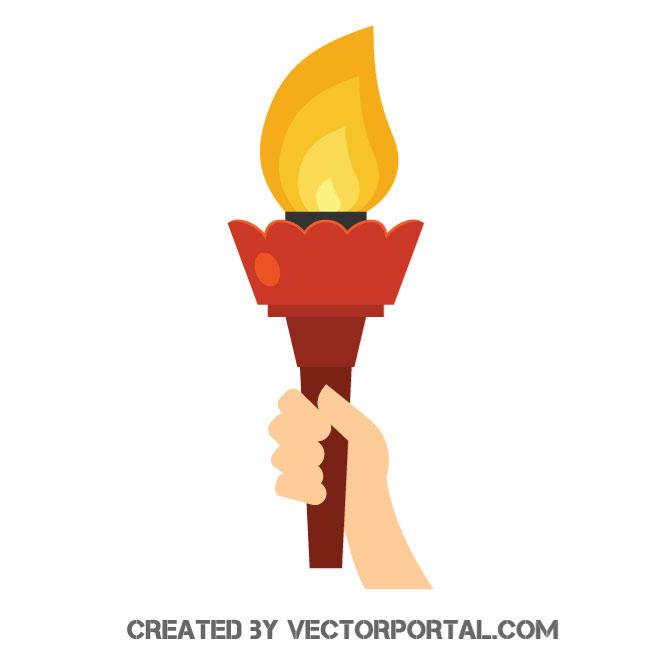 Torch in hand vector image.